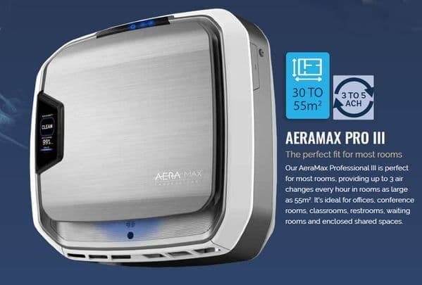 Aeramax PRO III PC 55m2 Hepa, Carbon Plasma Ioniser Commercial Air Purifier 240V~50Hz